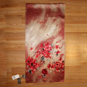 Brand New Vince Camuto Red 100% Silk Oblong Scarf
